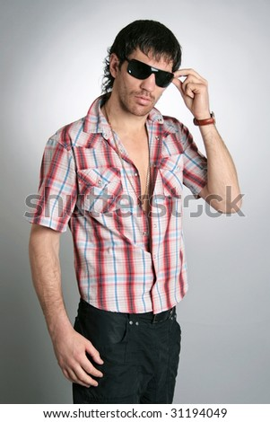 man fashion model cool person nice clothes - stock photo