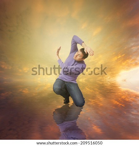 Man fearing something in his knees - stock photo