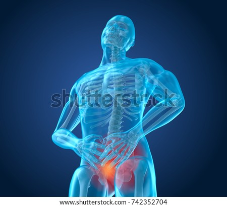 Man feeling pain down in stomach, 3D illustration