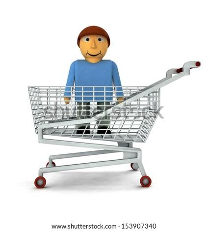man figure as shopping customer isolated illustration - stock photo
