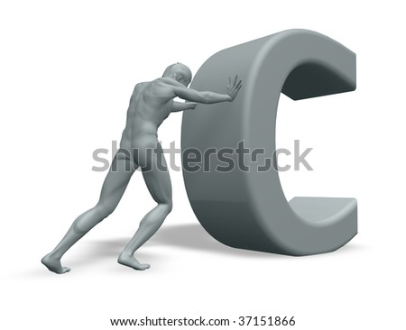 man figure pushes the uppercase letter C on white background - 3d illustration