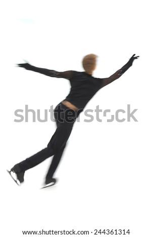 man figure skater on a white background - stock photo