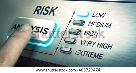 man finger about to press an analysis push button. Focus on the blue led. Concept image for illustration of risk management or assessment. - stock photo