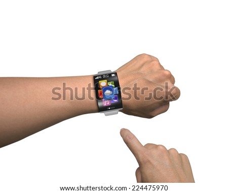 man finger point app icons of smartwatch with curved screen and metal watchband isolated on white