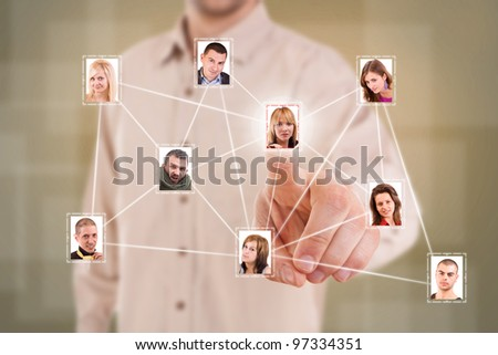 Man finger pressing a virtual Social Network picture