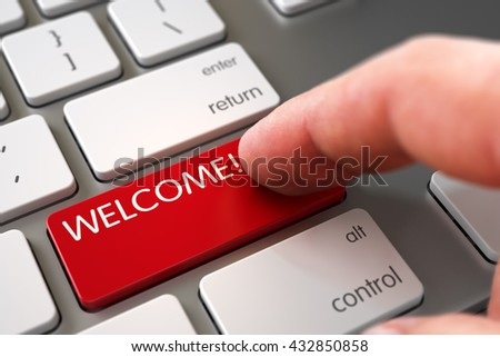 Man Finger Pressing Welcome Button on Laptop Keyboard. Hand of Young Man on Welcome Red Button. Man Finger Pushing Welcome Red Button on Computer Keyboard. 3D Illustration. - stock photo