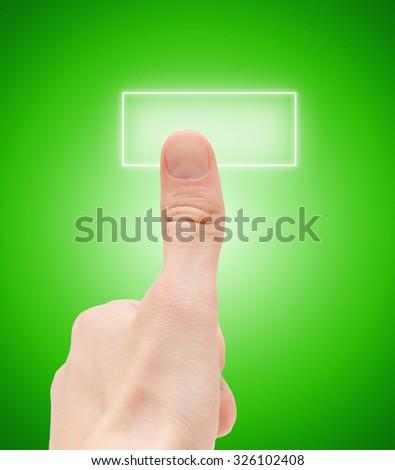 Man finger push button - stock photo
