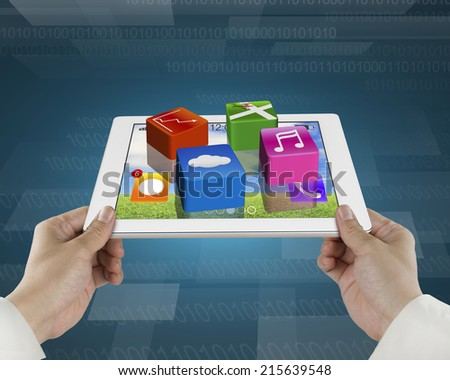 man fingers hold smart pad with apps and tech digital background - stock photo