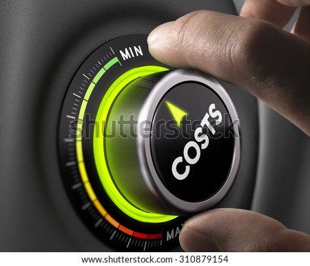 Man fingers setting cost button on minimum position. Concept image for illustration of cost management. - stock photo