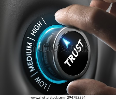Man fingers setting trust button on highest position. Concept image for illustration of high confidence level. - stock photo