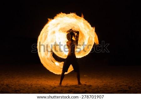 Man Fire Show on the beach ,Koh Kood ( Kood island ) THAILAND