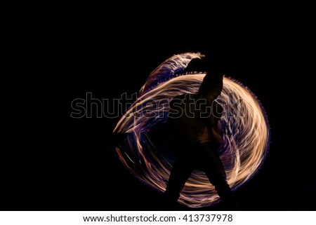 Man Fire Show on the beach of Koh Samui Thailand - stock photo