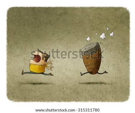 man fleeing from a cigar - stock photo