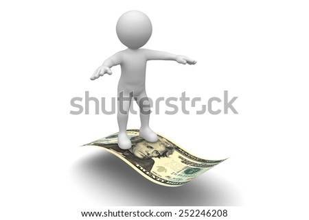Man Flying on Twenty Dollar bill isolated on white background