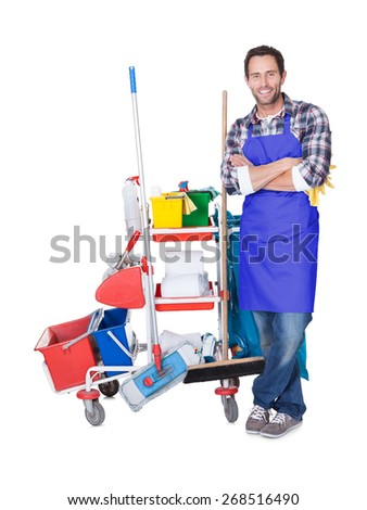 Man from professional cleaning service. Isolated on white - stock photo