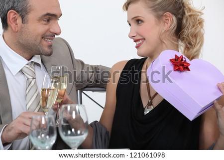 Man full of romantic gestures - stock photo