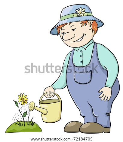Man gardener waters a bed with a flower from a watering can - stock photo
