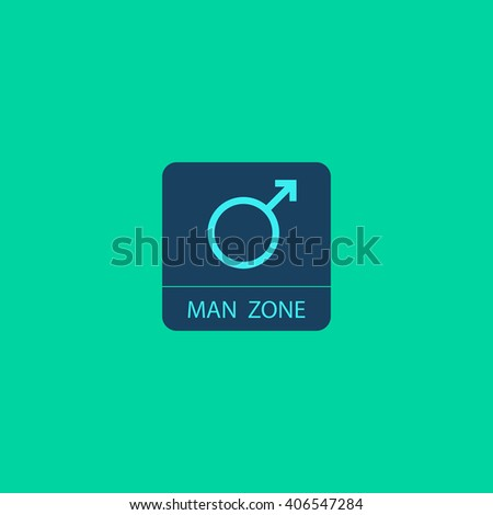 man gender Flat icon on color background. Simple colorful pictogram - stock photo