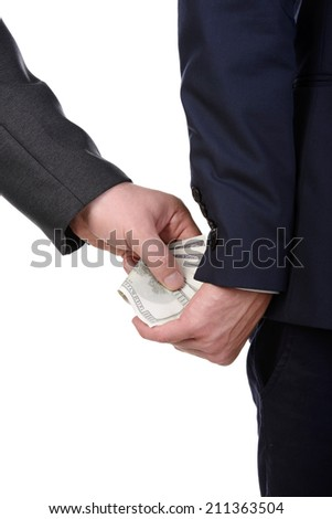 Man gently takes a bribe isolated on white background - stock photo