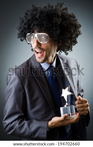 Man getting his star award - stock photo