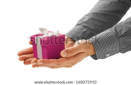 Man gives a gift - stock photo