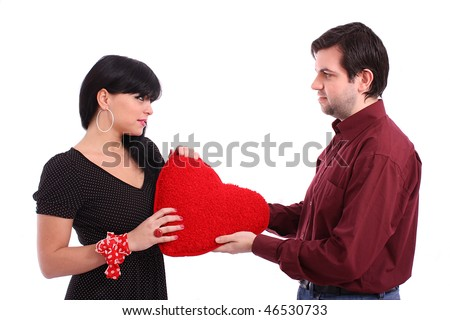 Man gives the woman the heart