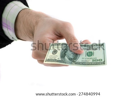 Man giving a banknote - stock photo
