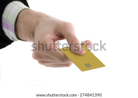 man giving a credit card - stock photo