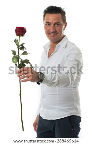 Man giving a rose isolated on white background