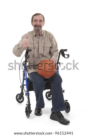 man giving a thumb up for disabled sports sitting on a disability walker