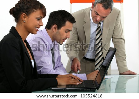Man giving business presentation - stock photo