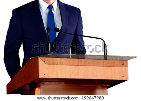 Man Giving Speech at Seminar - stock photo