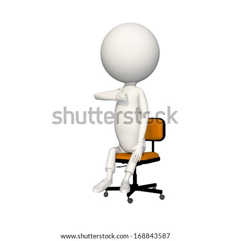 Man giving the thumbs down sign while sitting on a chair. View 2/6.