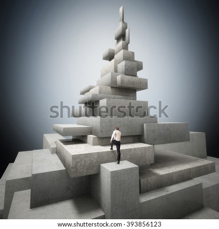 man go up on concrete tower