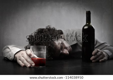 Man got drunk - stock photo