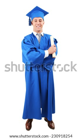 Man graduate student wearing graduation hat and gown, isolated on white - stock photo