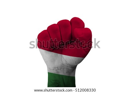 Man hand fist of HUNGARY flag painted