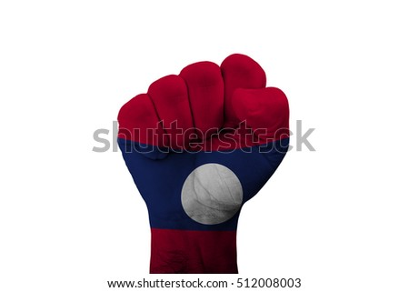 Man hand fist of LAOS flag painted