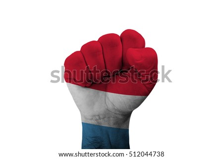 Man hand fist of LUXEMBOURG flag painted