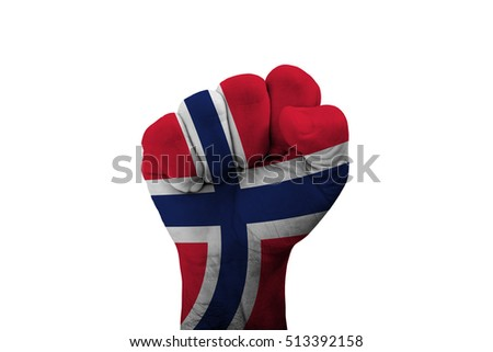 Man hand fist of NORWAY flag painted