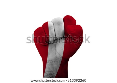 Man hand fist of PERU flag painted