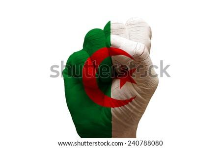 man hand fist painted alliance flag of algeria - stock photo