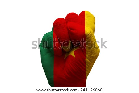 man hand fist painted country flag of cameroon