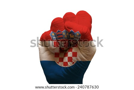 man hand fist painted country flag of croatia