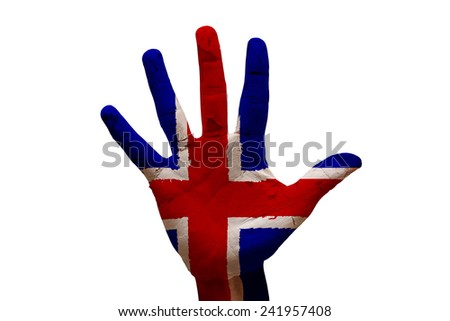 man hand fist painted country flag of iceland - stock photo