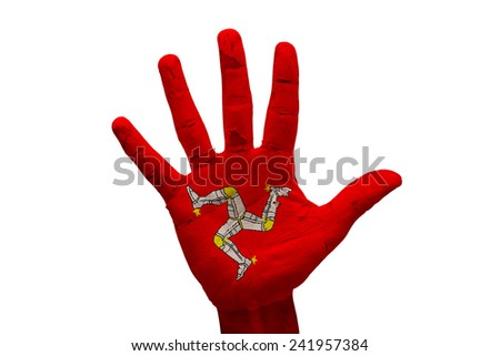 man hand fist painted country flag of isle of man - stock photo
