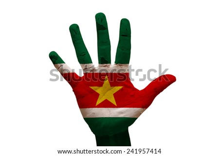man hand fist painted country flag of suriname - stock photo