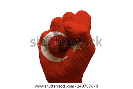 man hand fist painted country flag of turkey