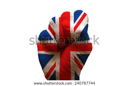 man hand fist painted country flag of united kingdom - stock photo