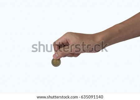 man hand hold a coin isolated white, Money saving concept